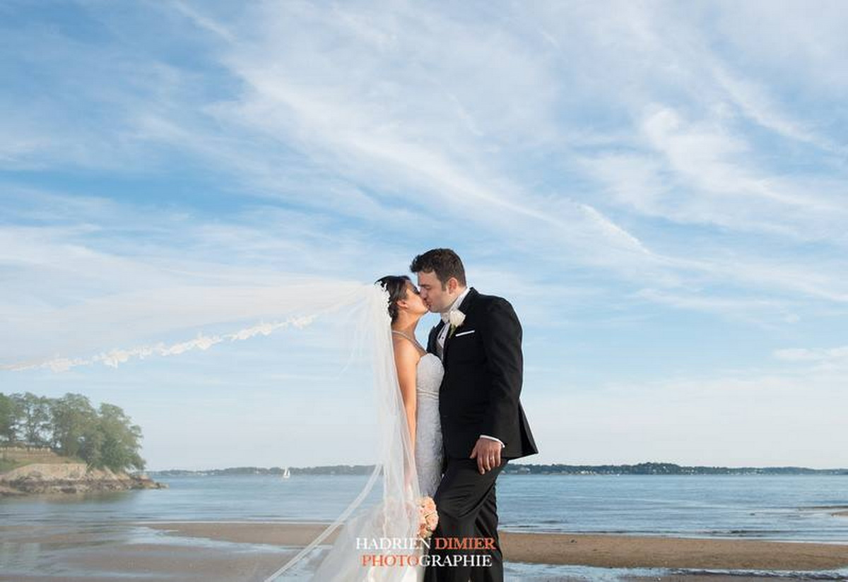 Tupper Manor bride groom kissing on beach photos